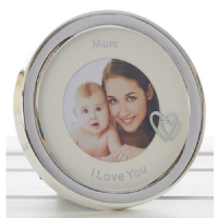 I LOVE YOU MUM Silver Circle Photo Frame